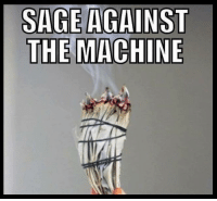 SAGE AGAINST  THE MACHINE Smudging in the name of... :)  Smudge all the things! :)  ~Kat The Original Tarot on Point