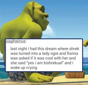 "All the green goo you could want.: sagihairius:  last night i had this dream where shrek  was turned into a lady ogre and fionna  was asked if it was cool with her and  she said ""yes i am bishrekual"" and i  woke up crying All the green goo you could want."