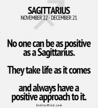 Sagittarius, Zodiac, and Mind: SAGITTARIUS  NOVEMBER 22-DECEMBER 21  No one can be as positive  as a Sagittarius.  They take lite as it comes  and ways have a  positive approach to it.  Zodiac Mind co m