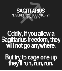 Apr 14, 2017. You will probably get support for your efforts. It is clear to everyone …....FOR FULL HOROSCOPE VISIT: http://horoscope-daily-free.net: SAGITTARIUS  NOVEMBER 22 DECEMBER 21  Zodiac M  i n d c o m  Oddly, lf you allow a  Sagittarius freedom, they  will not go anywhere.  But try to cage one up  they ll run, run, run. Apr 14, 2017. You will probably get support for your efforts. It is clear to everyone …....FOR FULL HOROSCOPE VISIT: http://horoscope-daily-free.net