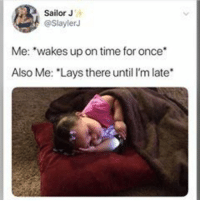 """Lay's, Struggle, and Time: Sailor J  @SlaylerJ  Me: """"wakes up on time for once  Also Me: """"Lays there until I'm late That Monday struggle😩😂 Can anybody relate? #voiceofhair voiceofhair.com"""