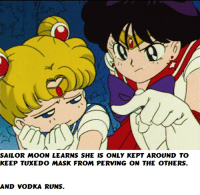 Sailor Moon-Moon learns about her life.: SAILOR MOON LEARNS SHE IS ONLY KEPT AROUND TO  KEEP TUXEDO MASK FROM PERVING ON THE OTHERS.  AND VODKA RUNS. Sailor Moon-Moon learns about her life.