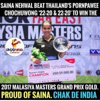 grand prix: SAINANEHWAL BEAT THAILAND'S PORNPAWEE  CHOCHUWONG '22-20 & 22.20' TO WIN THE  LA  SAM  arawak  elweiss  VICTOR  FAR EAST  A nEEUU BREED  MALAYSIA MASTERS  Women's Singles  USD$9,000.00  2017 MALASIYA MASTERS GRAND PRIX GOLD.  PROUD OF SAINA. CHAK DE INDIA