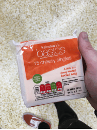 Energy, Funny, and Calvin Harris: Sainsbury's  asics  15 cheesy singles  SUPPORTS  SUSTAINABLE  PALM OIL  A litte less  cheesy makes  lunches easy  1 slice  Keep refrigerated  ENERGY  190kJ  46kcal  FAT SATURATES SUGARS SALT  3.7g 1.7g 0.7 0.34g  Use by  13 MAY 2018  20:13 L2 317  % of the Reference Intakes  Typical values per 100g: Energy 116  RI- Reference Intakes of an average adult (8400kJ/2000kcal) Just picked up Calvin Harris' new album