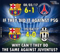 Thoughts? Follow @instatroll.soccer: SAINT-G  FCB  1970  IF THEY DID IT AGAINST PSG  jUVENTUS  FC B  WHY CAN'T THEY DO  THE SAME AGAINST JUVENTUS? Thoughts? Follow @instatroll.soccer