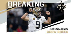 Saints agree to terms with QB Drew Brees on two-year deal worth roughly $50M. (via @RapSheet) https://t.co/aktGXmjE5u: Saints agree to terms with QB Drew Brees on two-year deal worth roughly $50M. (via @RapSheet) https://t.co/aktGXmjE5u