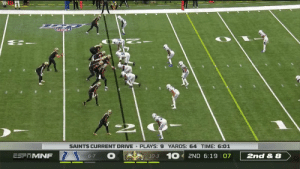 5️⃣3️⃣9️⃣  On this throw, @drewbrees ties Peyton Manning for 1st in all-time passing touchdowns 🙌 #Saints  📺: #INDvsNOon ESPN 📱: NFL app // Yahoo Sports app Watch free on mobile:https://t.co/sWmUbeqQpz https://t.co/movZLz4rev: SAINTS CURRENT DRIVE PLAYS: 9 YARDS: 64 TIME: 6:01  10-3 10 2ND 6:19 07  ESPTMNF  6-7  2nd & 8 5️⃣3️⃣9️⃣  On this throw, @drewbrees ties Peyton Manning for 1st in all-time passing touchdowns 🙌 #Saints  📺: #INDvsNOon ESPN 📱: NFL app // Yahoo Sports app Watch free on mobile:https://t.co/sWmUbeqQpz https://t.co/movZLz4rev