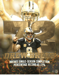 Memes, Nfl, and New Orleans Saints: .. SAINTS  DRE  BREAKS SINGLE-SEASON COMPLETION  PERCENTAGE RECORD AT 72%  NFL 🎯🎯🎯🎯🎯  @drewbrees has reclaimed the single-season completion percentage record! #GoSaints https://t.co/5SFgwxRP7g