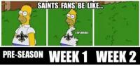 Be Like, Nfl, and New Orleans Saints: SAINTS FANS BE LIKE  CONFLMEMEZ  PRE-SEASON  WEEK 1 WEEK 2 New Orleans Saints Fans This Season! Credit: Jacob Smith