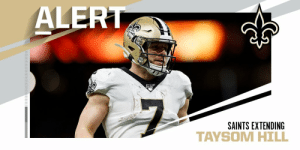 .@Saints signing QB Taysom Hill to a two-year, $21 million extension through 2021. (via @TomPelissero) https://t.co/7DqEK1MF6r: .@Saints signing QB Taysom Hill to a two-year, $21 million extension through 2021. (via @TomPelissero) https://t.co/7DqEK1MF6r