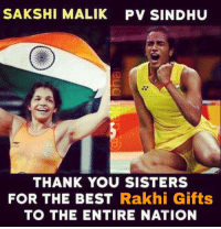 History Created at Rio 👌🏻⚡️🙌🏻 GirlPower Awesomeness from Sakshi & now Sindhu with another Cracker I so pray she comes back to India with a Gold 👏🏻 WeAreAlreadySoProud JustGoForIt Also big credits to her Coach 👍🏻 Wrestling Badminton Gymnastic Olympics: SAKSHI MALIK PV SINDHU  THANK YOU SISTERS  FOR THE BEST Rakhi Gifts  TO THE ENTIRE NATION History Created at Rio 👌🏻⚡️🙌🏻 GirlPower Awesomeness from Sakshi & now Sindhu with another Cracker I so pray she comes back to India with a Gold 👏🏻 WeAreAlreadySoProud JustGoForIt Also big credits to her Coach 👍🏻 Wrestling Badminton Gymnastic Olympics