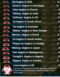 Bring back plague memes: Sal begins in USA  Doesn't begins in Greenland  Have begins in Russia  Editing begins in India  Software begins in UK  So begins in South Africa  He begins in Australia  Makes begins in New Guinea  Memes begins in Brazil  On begins in Saudi Arabia  Plague inc begins in Canada  Making begins in Japan  Him begins in Madagascar  Tonight's begins in Algeria  Biggest begins in Sweden  Loser begins in UK  Loser has infected its first human. Weak but used to cold  temperatures, it must evolve using DNA points to infect  more people Bring back plague memes