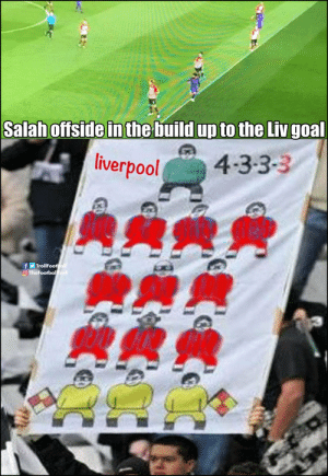 Memes, Liverpool F.C., and Game: Salah offside in the build up to the Liv goal  liverpool  4-3-3-3  TheFootbal  糞糞侂 Another game, another offside goal for Liverpool https://t.co/x3hVEpRToT