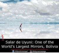 Memes, 🤖, and Bolivia: Salar de Uyuni: One of the  World's Largest Mirrors, Bolivia  f/didyouknowpagel @didyouknowpage