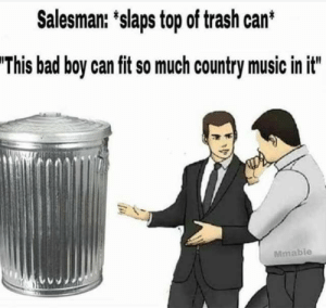 Bad, Memes, and Music: Salesman: 'slaps top of trash can*  'This bad boy can fit so much country music in it  Mmable Memes? Memes.