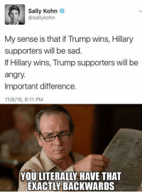 Memes, Angry, and Sad: Sally Kohn  @sally kohn  My sense is that if Trump wins, Hillary  supporters will be sad.  If Hillary wins, Trump supporters will be  angry.  Important difference.  11/8/16, 8:11 PM