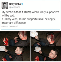 9/11, Memes, and Boy That: Sally Kohn  @sallykohn  My sense is that if Trump wins, Hillary supporters  will be sad.  If Hillary wins, Trump supporters will be angry.  Important difference.  9:11 PM 08 Nov 16 Boy, that tweet didn't hold up, did it?