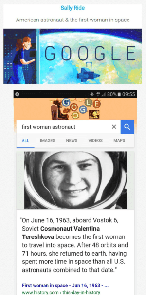 "memehumor:  Google didn't even bother to Google their own facts: Sally Ride  American astronaut & the first woman in space  GOO G LE  4G.. 80%. 09:55  0%  (LJE  first woman astronaut  ALL IMAGES  NEWS  VIDEOS  MAPS  ""On June 16, 1963, aboard Vostok 6,  Soviet Cosmonaut Valentina  Tereshkova becomes the first woman  to travel into space. After 48 orbits and  71 hours, she returned to earth, having  spent more time in space than all U.S.  astronauts combined to that date.""  First woman in space - Jun 16, 1963 -  www.history.com this-day-in-history memehumor:  Google didn't even bother to Google their own facts"