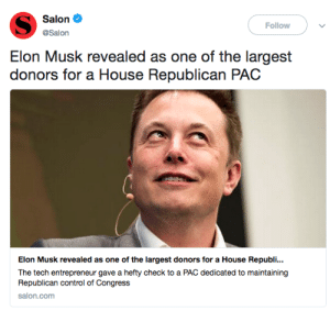 "Fucking, Shameless, and Tumblr: Salon  Follow  @Salon  Elon Musk revealed as one of the largest  donors for a House Republican PAC  Elon Musk revealed as one of the largest donors for a House Republi..  The tech entrepreneur gave a hefty check to a PAC dedicated to maintaining  Republican control of Congress  salon.com politicalsci: Nate Silver is so fucking annoying but im glad that this election cycle he is exposing himself for the grifter that he is and not some ""objective"" purely data-driven guy. While I do think it is important to be partially driven by data don't ever be fooled by people who claim they don't have any ideological frameworks at all. Silver is a shameless centrist who has a lot  of disdain for the left."