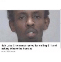Follow @savage_meme_chapel for more fuckery: Salt Lake City man arrested for calling 911 and  asking Where the hoes at  react365.com Follow @savage_meme_chapel for more fuckery