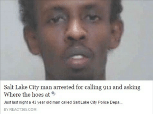 Lake City: Salt Lake City man arrested for calling 911 and asking  Where the hoes at  Just last night a 43 year old man called Salt Lake City Police Depa...  BY REACT365.COM
