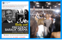 America, Obama, and Las Vegas: Salt N Pepa  5 hrs  This Monday, join President Barack Obama, with very special musical guest  J Balvin, Salt n Pepa, America Ferrera, and Nevada Democrats in Las  Vegas for a rally to celebrate the start of Early Voting in Nevada!  FOR TICKETS VISIT www.vOTENVDEMS.COM/OBAMA  116  OBAMA  Rallay with  PRESIDENT  BARACK OBAMA  Monday October 22nd  COX PAVILION @ UNLV 4505 S MARYLAND PKWY LAS VEGAS, NV 89154  NVDEMS  FOR TICKETS VISIT WWW.VOTENVDEMS.COM/OBAMA  26 Likes 3 Comments 6Shares 26 LIKES 6 SHARES
