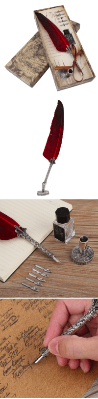 Family, Friends, and Tumblr: saltycaffeine:  Unique Caligraphy Feather Dip Quill Pen. A unique set of Stationary to take your writing to the next level. Perfect Gift for your Friends and Family!USE CODE: FEATHER= GET YOURS HERE =