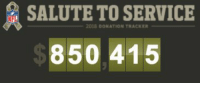 Memes, Nfl, and Military: SALUTE TO SERVICE  NFL  2018 DONATION TRACKER  850 415 We're up over $850k... let's get to $1M tonight!  Keep tweeting (and retweeting!).  With every use of #SaluteToService, the NFL will donate $5 to our military non-profit partners!  Track the progress here: https://t.co/PXtHEaszWL https://t.co/U2ml4lnqKS