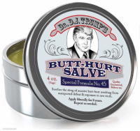 Butt, Memes, and Sting: SALVE  4 oz.  Special rormula No.  45  Quality  Guaranteed,  soothes the sting Believe me.  unexpected of massive butt-hurt resulting from  defeat exposure to raw truth.  Apply liberally for 8 years.  Repeat as needed. Seems appropriate.  Is this stuff on the market yet?
