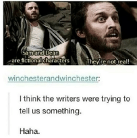 Bad, Memes, and Fictional: Sam and Dean  are fictional characters  They're not real!  winchesterandwinchester:  I think the writers were trying to  tell us something  Haha. too bad😷😷😷