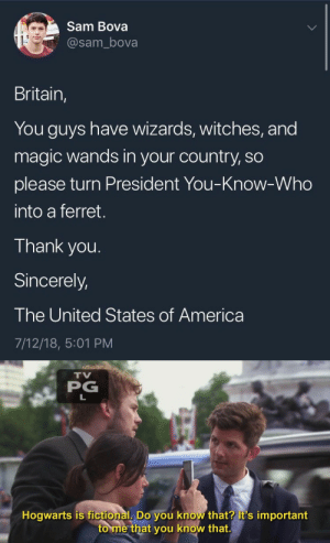 America, Thank You, and Ferret: Sam Bova  @sam_bova  Britain,  You guys have wizards, witches, and  magic wands in your country, so  please turn President You-Know-Who  into a ferret.  Thank you.  Sincerely,  The United States of America  7/12/18, 5:01 PM   TV  PG  Hogwarts is fictional, Do you know that? it's important  to me that you know that.