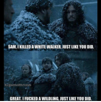Memes, 🤖, and White Walkers: SAM, IKILLED A WHITE WALKER, JUSTLIKE YOU DID.  IGIgaemotthrones  GREAT IFUCKEDAWILDLING JUSTLIKE YOU DID. Sam 🔥😎