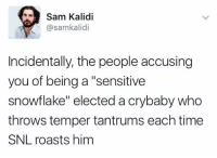 """Memes, Snl, and 🤖: Sam Kalidi  @samkalid  Incidentally, the people accusing  you of being a """"sensitive  snowflake"""" elected acrybaby who  throws temper tantrums each time  SNL roasts him Exactly!"""