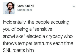 """Roasts: Sam Kalidi  @samkalidi  Incidentally, the people accusing  you of being a """"sensitive  snowflake"""" elected a crybaby who  throws temper tantrums each time  SNL roasts him"""