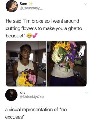 "He a good man.: Sam  @_sammayy_  He said ""I'm broke so l went around  cutting flowers to make you a ghetto  bouquet""  luis  @ShineMyGold  a visual representation of ""no  excuses"" He a good man."