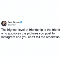 Friends, Instagram, and Memes: Sam Stryker  @sbstryker  The highest level of friendship is the friend  who approves the pictures you post to  Instagram and you can't tell me otherwise tag the friends that approve your instas 👇👇 (@samstryker on Twitter)
