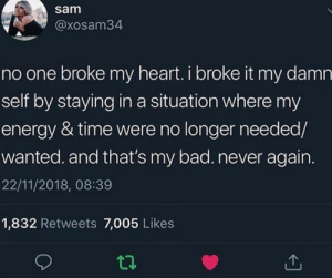 11 2018: sam  @xosam34  no one broke my heart. i broke it my damn  self by staying in a situation where my  energy & time were no longer needed/  wanted. and that's my bad. never again.  22/11/2018, 08:39  1,832 Retweets 7,005 Likes