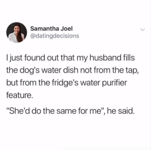 "Dating, Dogs, and Target: Samantha Joel  @datingdecisions  I just found out that my husband fills  the dog's water dish not from the tap,  but from the fridge's water purifier  feature.  She'd do the same for me"", he said. Wait, some people don't do this?Tw @dating.decisions"