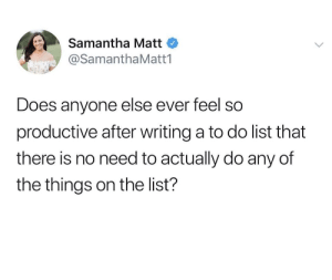 meirl: Samantha Matt  @SamanthaMatt1  Does anyone else ever feel so  productive after writing a to do list that  there is no need to actually do any of  the things on the list? meirl