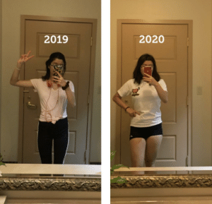 Same mirror, but one year apart! Anorexia recovery has been hard but seeing these pictures makes me proud of how far I've come: Same mirror, but one year apart! Anorexia recovery has been hard but seeing these pictures makes me proud of how far I've come