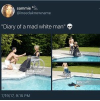"Memes, White, and Mad: sammie  @ineedaknewname  ""Diary of a mad white man'""  ge  gettyimages  gettyimages  7/19/17, 9:15 PM"