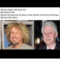 Bill Clinton: Sammy Hagar is 68 years old.  Bill Clinton is 69.  Sammy has had over 40 years of sex, alcohol, rock & roll, and drugs.  Bill lives with Hillary.