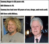 Sammy Hagar is 68 years old.  Bill Clinton is 70.  Sammy has had over 40 years of sex, drugs, androck &roll.  Bill lives with Hillary. ~ Viper