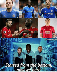 Started from the bottom now we here mufc: SAMSUN  TYRES  @TrollFootball  Started from the bottom  now we nere Started from the bottom now we here mufc