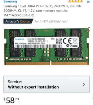 "Does anyone know if this is the correct type of ram for a Lenovo legion y520? Currently at 8 GB ram and it says it supports a maximum of 32 GB (16×2): Samsung  38  Samsung 16GB DDR4 PC4-19200, 2400MHZ, 260 PIN  SODIMM, CL 17, 1.2V, ram memory module,  M471A2K43CB1-CRC  Amazon's Choice  for ""m471a2k43cb1-crc""  CE  K1GE000704182E60DE  1668 2Rx8 PC4-2400T-SE1-11  Made in Philigpines M471A2K43CB1-CRC  1704  SAMSUNG  Service:  Without expert installation  $5870  SEC 70R  98 SEC TEN  KEASGAO  BAS  241P  SEC 704  S1B BCRC  4059TA  SEC 704  8056AA  BCRC  EC 70W  CTABSOR  PE BCRC Does anyone know if this is the correct type of ram for a Lenovo legion y520? Currently at 8 GB ram and it says it supports a maximum of 32 GB (16×2)"