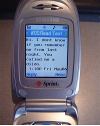 Dildo, Samsung, and Sprint: SAMSUNG  fiil  #05:Read Text  Hi. I dont know  if you remember  me from last  night. You  called me a  dildo  1:10P Fri May06  Reply  Menu  Sprint