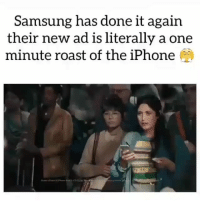 Funny, Iphone, and Lol: Samsung has done it again  their new ad is literally a one  minute roast of the iPhone Samsung is super petty lol.. funniest15 viralcypher funniest15seconds Www.viralcypher.com