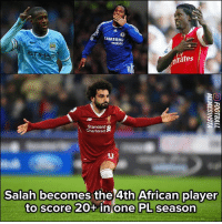 Mohamed Salah keeps on making history! ⚽️👏🏽: SAMSUNG  mobile  IH  rates  AB  Standard  Chartered  Salah becomes the 4th African player  to score 20+ in one PL season Mohamed Salah keeps on making history! ⚽️👏🏽