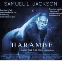 I know Harambe memes are old news, but I had a wee kek over this one: SAMUEL L. JACKSON  Shoot me again.  I'm tired of all  I S  I dare you, I  these motherfuckin  double dare you  kids in my  motherfucker  motherfuckin pen  HAR A MBE  DICKS OUT THIS FALL, motherfucker I know Harambe memes are old news, but I had a wee kek over this one