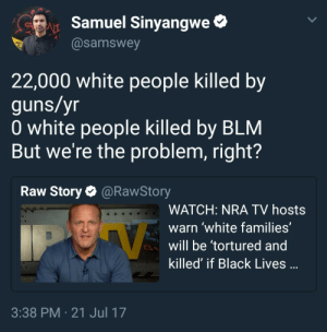 Guns, White People, and Black: Samuel Sinyangwe*  @samswey  22,000 white people killed by  guns/yr  0 white people killed by BLM  But we're the problem, right?  Raw Story@RawStory  WATCH: NRA TV hosts  warn 'white families'  will be tortured and  killed' if Black Lives  3:38 PM 21 Jul 17 Another day, another scapegoat